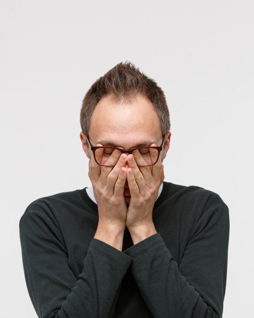 small picture of man with fatigue