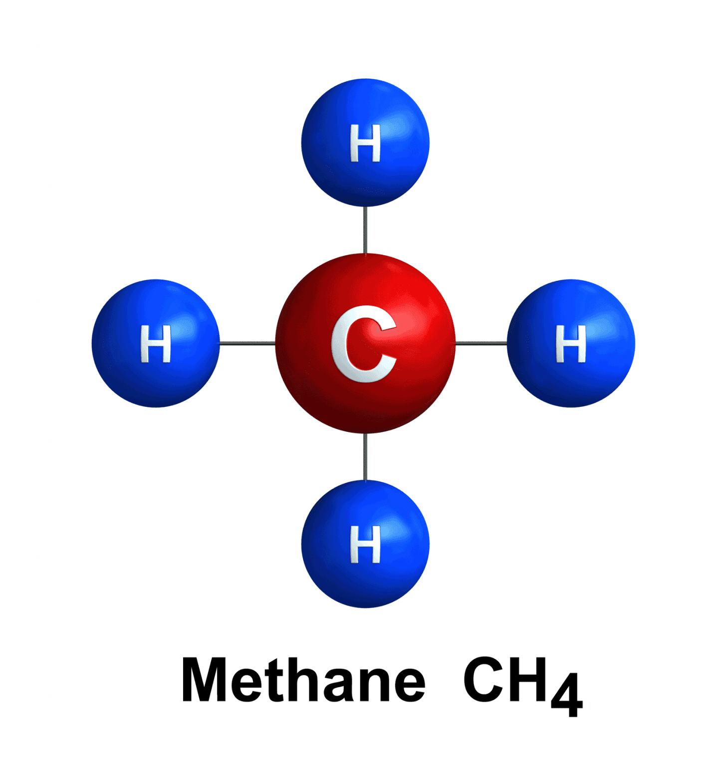 methane and hydrogen atoms in red and blue