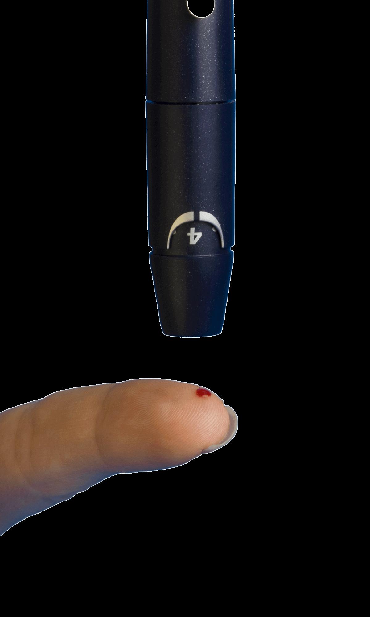 black pen above blood pricked finger